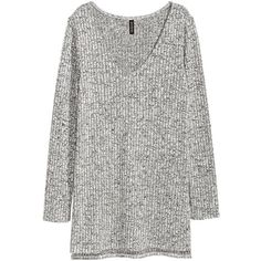H&M Knit Sweater with Side Slits $14.99 ($15) ❤ liked on Polyvore featuring tops, sweaters, h&m sweaters, long sleeve tops, v neck sweater, long sleeve sweater and v-neck sweater