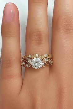 24 Vintage Engagement Rings With Stunning Details ❤️ vintage engagement rings rose gold round cut diamond ❤️ See more: http://www.weddingforward.com/vintage-engagement-rings/ #wedding #bride #engagementrings #vintageengagementrings #rosegondengagementrings