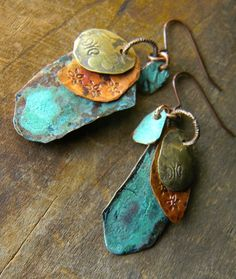 Chrysalis Jewelry - Butterfly Earrings - Hand Forged Mixed Metals
