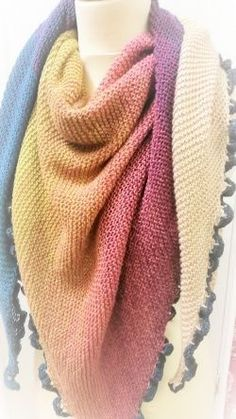 Knitting and Crochet Patterns Colour - Free knitting pattern for Scheepjes Whirl. Loom Knitting, Knitting Stitches, Knitting Patterns Free, Knit Patterns, Free Knitting, Knitted Shawls, Crochet Shawl, Knit Crochet, Crochet Vests