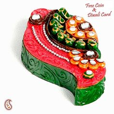 Kundans, Clay and wood painted Shankh Kumkum Chopra - Online Shopping for Diyas and Lights by Apno Rajasthan