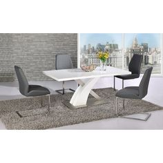 Mario Dining Table In White Glass Top With 6 Grey Chairs