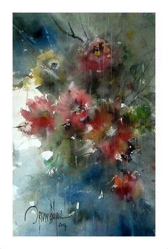 Orhan Gürel / Turkey Watercolor Cards, Watercolor Flowers, Female Art, Flower Art, Images, Floral Paintings, Artwork, Watercolours, Oil