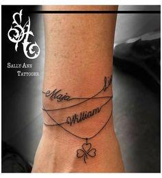 Bracelet Tattoos With Names, Name Tattoos On Wrist, Tattoos With Kids Names, Wrist Tattoos For Women, Tattoo Bracelet, Tattoos For Daughters, Kid Name Tattoos, Childrens Names Tattoo Ideas, Tattoo Finger