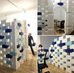 Temporary Walls, Room Dividers & Modular Walls Create partitions, modular divider walls, accent walls and stylish space dividers Office Dividers, Space Dividers, Office Partitions, Modular Walls, Modular Furniture, Lego Furniture, Everblock System, Cubicle Walls, Diy Room Divider