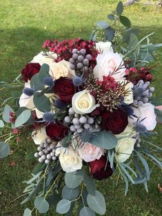 Flowers: minus berries, small red flowers and pink roses. More dusty blue needed. November Wedding Flowers, Burgundy Wedding Flowers, Bridal Bouquet Blue, Burgundy Bouquet, Fall Wedding Colors, Bridesmaid Bouquet, Floral Wedding, Wedding Bouquets, Red Flowers