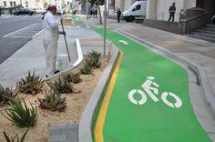 Contra flow bike lane at Polk Street in San Francisco, CA