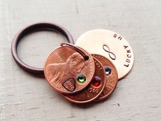 Lucky Us penny keychain hand stamped custom you choose birthstone copper keyring initials name date year personalized Swarovski infinity 4 on Etsy, $20.00