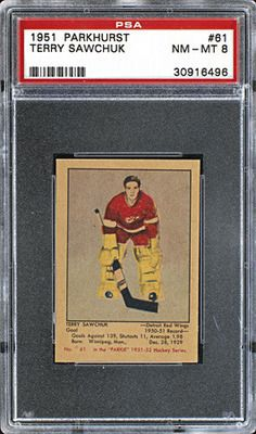 Terry Sawchuk: 1951-52 Parkhurst Hockey Cards, Baseball Cards, Detroit Red Wings, Trading Cards, Sports, Birth Year, Athletes, Mint, Outdoors