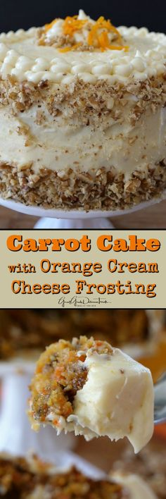 Carrot Cake with Orange Cream Cheese Frosting is an incredibly moist carrot cake recipe topped with the best cream cheese frosting. Moist Carrot Cakes, Best Carrot Cake, Carrot Recipes, Sweet Recipes, Just Desserts, Delicious Desserts, Baking Recipes, Cake Recipes, Desert Recipes