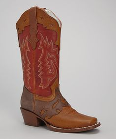 Bonanza Boots Red & Brown Miel Leather Cowboy Boot - Women by Bonanza Boots #zulily #zulilyfinds