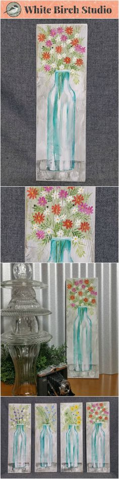 "Spring Flowers, wildflower painting, Farmhouse decor, Pallet wall art, White washed reclaimed wood, Hand painted flowers, blue glass vase  Original Acrylic painting on reclaimed white-washed board measuring 17"" wall by 5 1/2""  Are you ready for a touch of Spring artwork for your home? These fun pieces can be added to any decor to give it a unique, shabby, farmhouse update. Each piece is hand painted for you and sanded for an aged appearance."