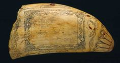 The engraved designs on whale teeth, bone, tusk or shell - was the product of boredom on the voyages that could last for years. These beautiful objects express homesickness, longing and adventure.