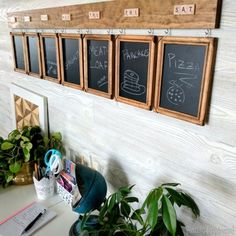Menu Board made from cheap wooden frames, chalkboard vinyl, and Scrabble tiles! Perfect for your family's weekly meal planning! {Reality Daydream}