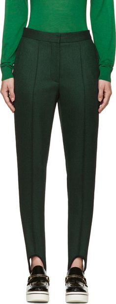 Stella McCartney Green & Black Twill Bernard Stirrup Trousers - SSENSE