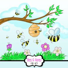 Honey Bee Clipart with Beehive + Flowers+ tree Branch + Grass + Flowers + Clouds Clipart, Summer and Spring Flowers Clipart, Picnic Clipart #digitalscrapbooking #printables