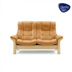 Quick-Ship Buckingham High Back Leather Loveseat Stressless in Paloma Taupe (Reclines)