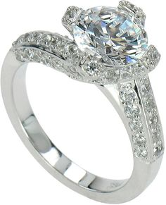 Lexie Round Cubic Zirconia Pave Solitaire Engagement Ring
