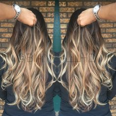 Sexy blonde curls ombré balayage dimensional blonde