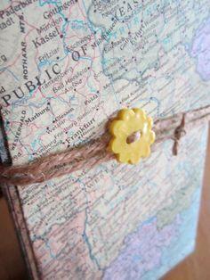 Wedding stationery, wedding invites, map envelopes, large envelopes, map wedding, atlas, upcycled wedding, travel theme, destination wedding. $30.00, via Etsy.