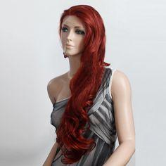 Lace Front perruque rouge brunatre longues femme ondulés Haifa Wehbe perruque 4120-350