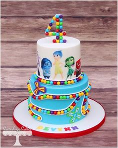 Trendy Birthday Cake Kids Disney Inside Out Fancy Cakes, Cute Cakes, Pretty Cakes, Beautiful Cakes, Amazing Cakes, Fondant Cakes, Cupcake Cakes, Inside Out Cakes, Character Cakes