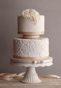 Blush lace wedding cake.