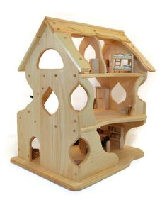 Wooden Dollhouse Toy Dollhouse Play от AToymakersDaughter
