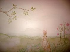Love the soft water colour murals.