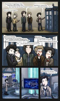 Superwholock: TARDIS Troubles by Star-Jem.deviantart.com on @deviantART Dean Winchester, Sam Winchester, Sherlock Holmes, John Watson, Eleventh Doctor Supernatural, Sherlock, Doctor Who