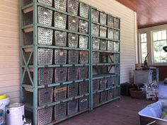 2 Vintage Gym Locker Basket Units & 51 Wire Baskets Shelf Industrial Loft Rack