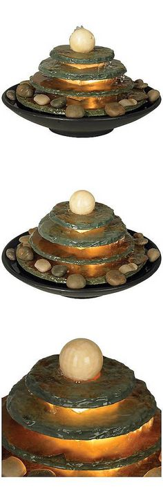 Indoor Fountains 20569 Pyramid Feng Shui Ball Lighted 10 High Table Fountain