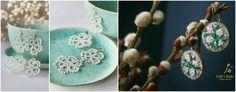 cercei handmade cu floriCercei din dantelă – Tiny pleasures and small treasures / Cercei din fetru cu broderie – Emilie's Nature