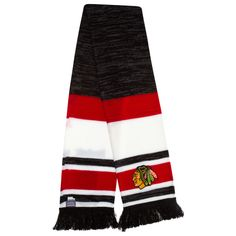 Chicago Blackhawks Black, White, and Red Striped Scarf by Reebok #Chicago #Blackhawks #ChicagoBlackhawks