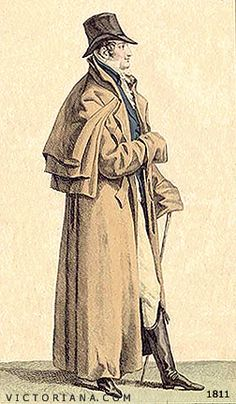 The men are always wearing greatcoats in Georgette Heyer's novels. This man is quite modest. He certainly isn't wearing the many-caped greatcoat of the Corinthians.