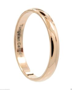 3mm Thin Rose Gold Plated Ring Tungsten Carbide Wedding Band -- See this great image  : Wedding Rings