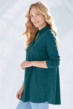 Bamboo-Cotton Tunic Shirt Treggings, Cotton Tunics, Purple Haze, Tunic Shirt, Bamboo, Trousers, High Neck Dress, Autumn, Elegant