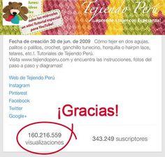 Wow... ya son más 160 millones de reproducciones de los videos de nuestro canal de YouTube!   Eternamente agradecidas por tanto cariño...! ¡Besos! https://www.youtube.com/user/esperosas #YouTube #TejiendoPerú #EsperanzaRosas #crochet #lknit #amigurumi