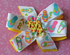 Summer is almost here!    Flip Flop Layered Bow