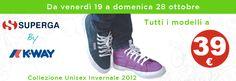 Scarpe Superga K-Way in offerta a 39 euro (sconto del 55%) fino al 28 ottobre.  Collezione unisex autunno inverno 2012.  Non perdere l'occasione!!     http://www.olaraga.com/3232-offerte-flash