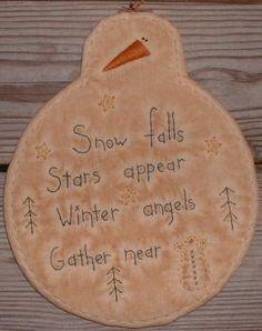 Primitive Stitchery PATTERN Snowman Snow Angels door thetalkingcrow