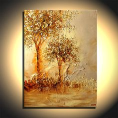 """Heavy Textured Landscape Blooming Trees Painting Gold Tones Acrylic Paints by Osnat - MADE-TO-ORDER - 30""""x40"""""""