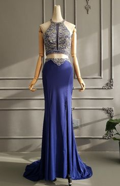 Sexy Two Pieces Royal Blue Jersey Beaded Prom Evening Dress High Neck With Cross Straps Winter Prom Dresses, Royal Blue Prom Dresses, Evening Dresses, Formal Dresses, Orange Blush, Purple Grey, Prom Dresses Online, Two Pieces, Midnight Blue