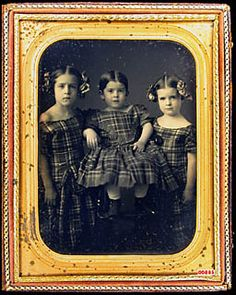 2db2dbcb33c Germon of Philadelphia daguerreotype of two girls with bows and third girl  on a wooden high