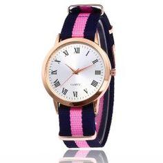 New Rose Gold Dial Nylon Strap Ladies Quartz Watch with Gift Box - Pink   1 x Box No