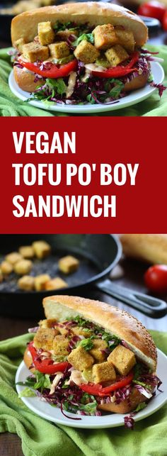 Tofu cubes are coated in cornmeal, pan-fried and stuffed into crusty rolls with vegan remoulade to make these mouthwatering tofu po' boy sandwiches.