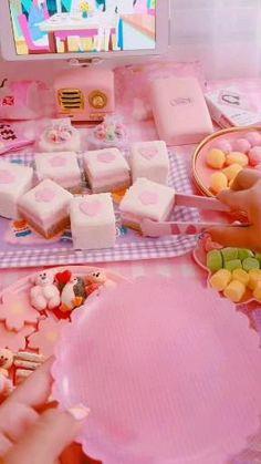 Pink Snacks, Cute Snacks, Cute Food, Crochet Doll Tutorial, Anime Dancer, Gaming Room Setup, Kawaii Room, Japanese Snacks, Rainbow Aesthetic