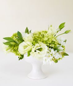 Green and white in white vase