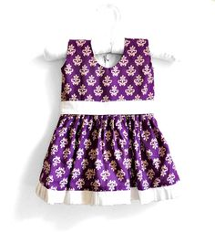 Baby Dress - Baby Girl Dress - Size 0 - 3 months - Purple floral print with cream belt via Etsy