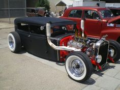 Trick headers on the Ford rat rod.